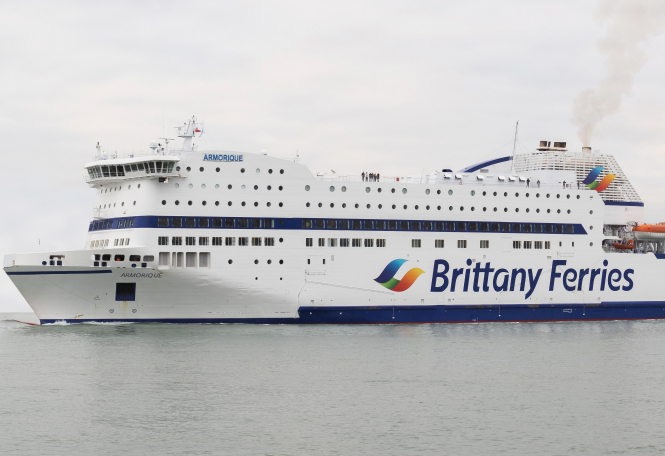 A Brittany Ferry in action in Portsmouth Harbour, United Kingdom