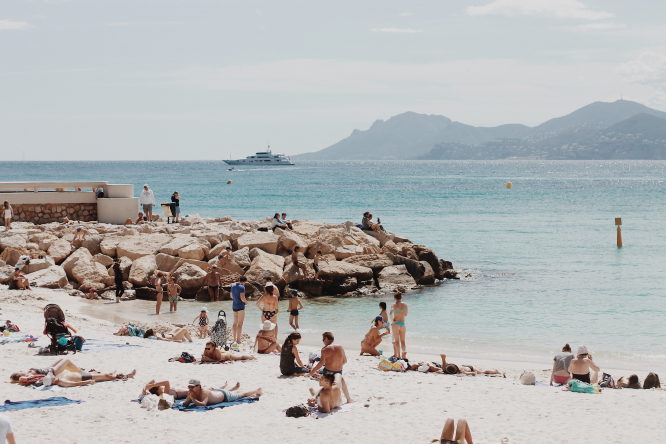 A busy beach, French Riviera, Cote D'Azur, France