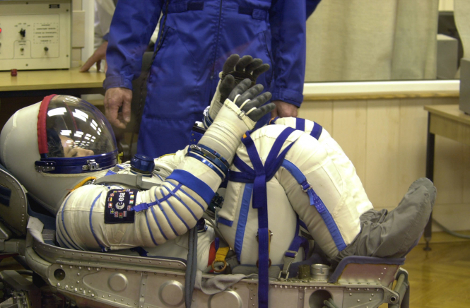 Astronaut Claudie Haignere in her chair