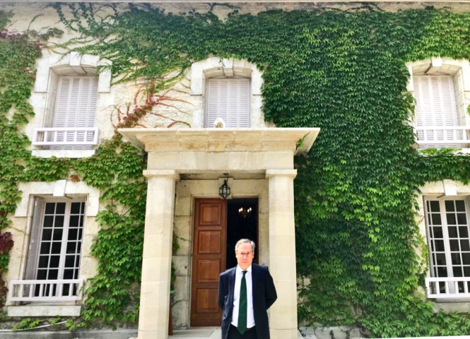 British Ambassador to France, Ed Llewellyn, outside General de Gaulle's home.