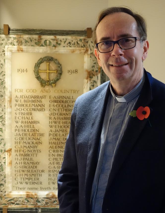 Chaplain Jonathan Clark at St Michael's, Paris