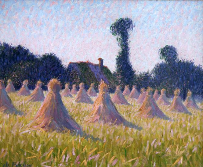 Painting: Charles Frechon, Meules au couchant