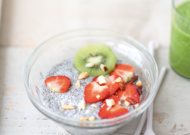 Chia Pudding with a Green Smoothie. Connexion September print edition.