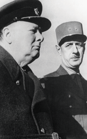 Churchill and General de Gaulle in 1944. Photo: Fremantle / Alamy Stock Photo.