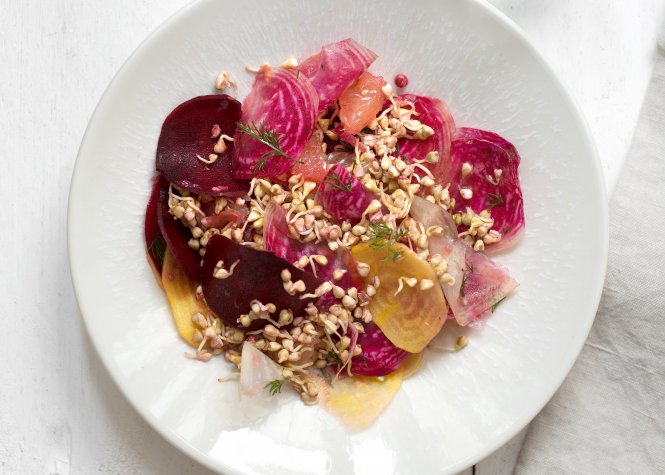 Citrus Beet and Sprouted Buckwheat Salad. Connexion September print edition.