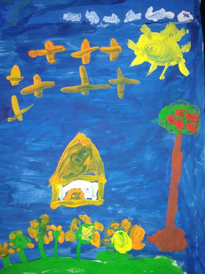 Crèche and maternelle category art winner: freestyle painting by Nalini Leandra Garcia Raghavan, aged 4