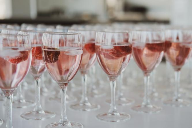 glasses full of rose wine