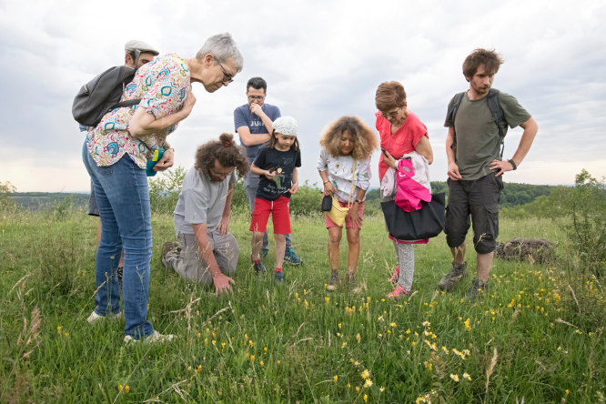 Children gather round in a field at Fête de la Nature. Photo: Louis Marie Préau.