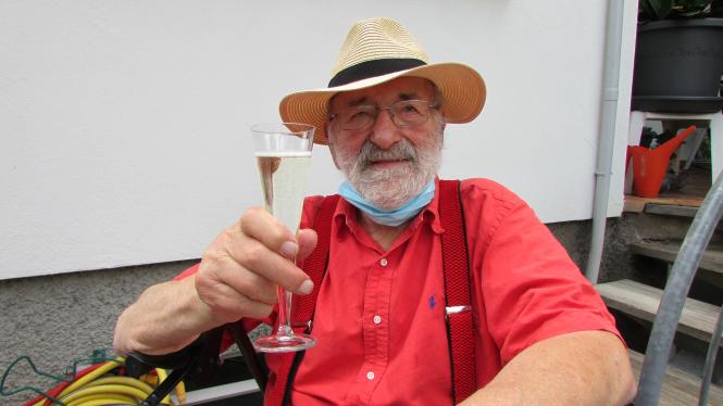 Frederick William-Smith celebrating his achievement.