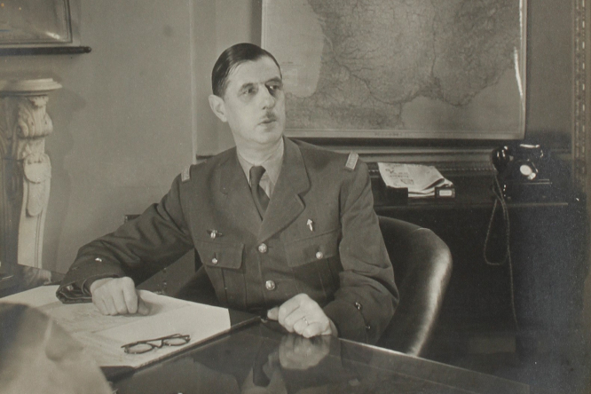 General de Gaulle in his London office of Free France. Photo from Getty Image Public Domain.