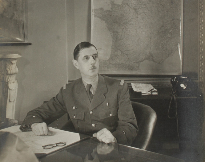 General de Gaulle in his London office. Photo from Getty Images.