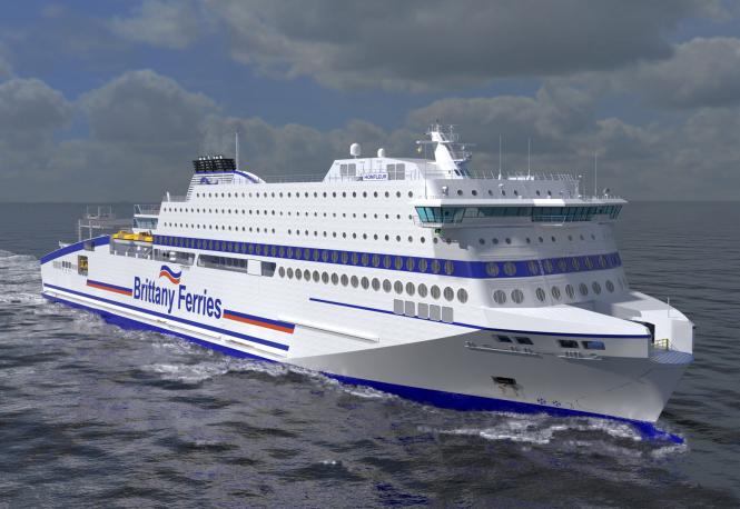 White ship against grey seas