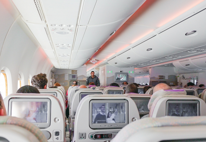Inside an Emirates airline plane