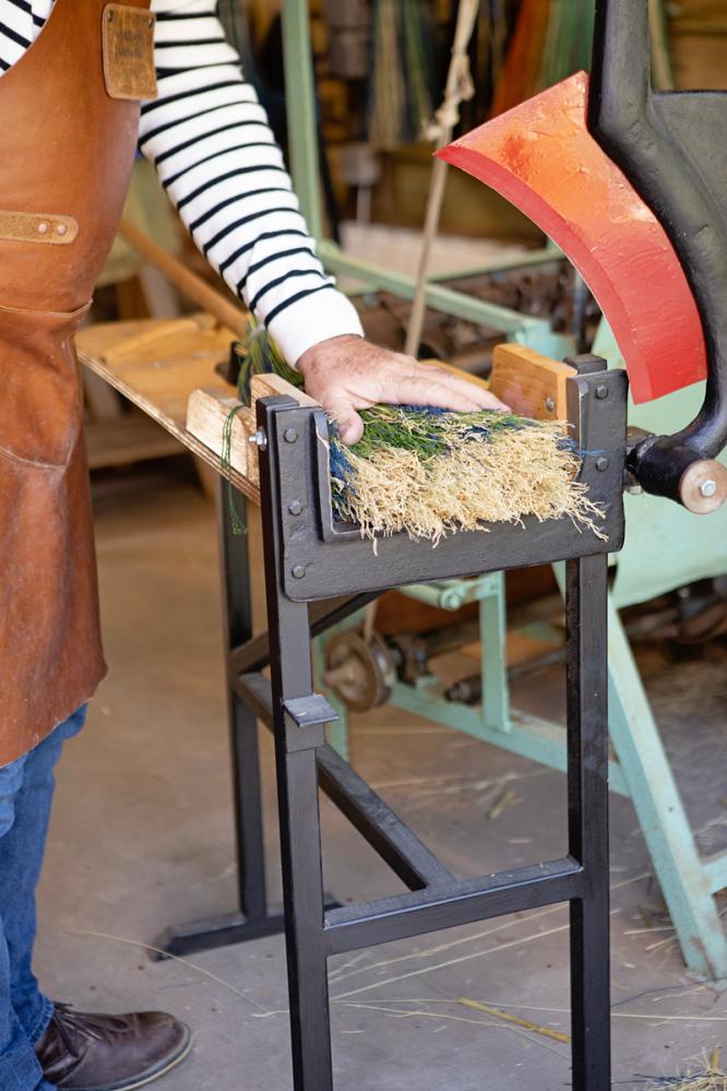Making straw brooms