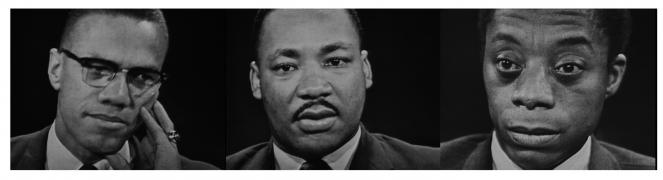 Three men Malcolm X, Martin Luther King jr, James Baldwin