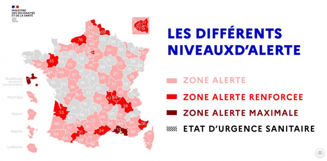 Map tweeted by government shows levels on Sep 23, with Bouches-du-Rhône categorised as 'maximum alert'. Photo Connexion Oct print edition.
