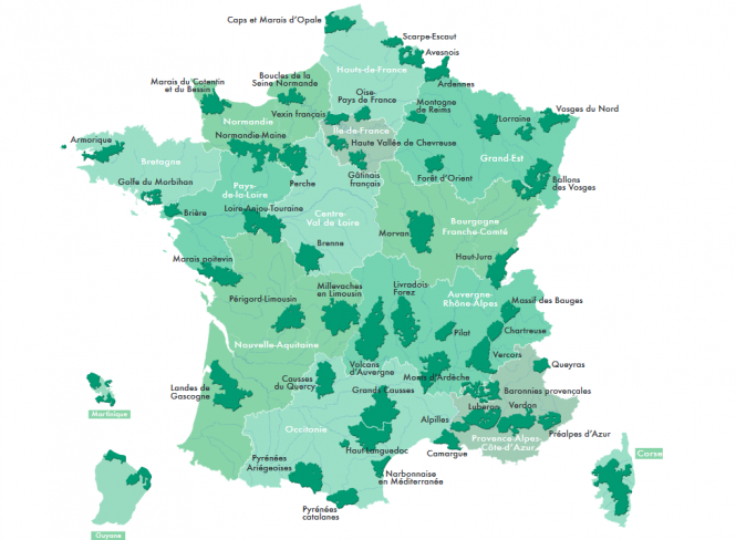 Map of the Parcs Naturels Régionaux in France