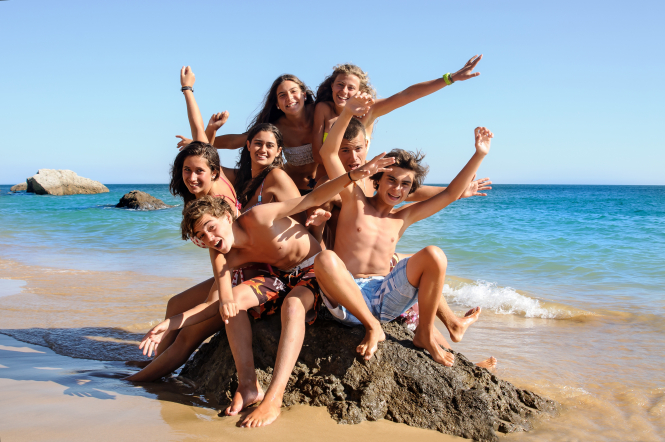 Pictured: kids on a Vacances pour Tous holiday, one of the biggest associations in France. It has been running holidays for the past 60 years.