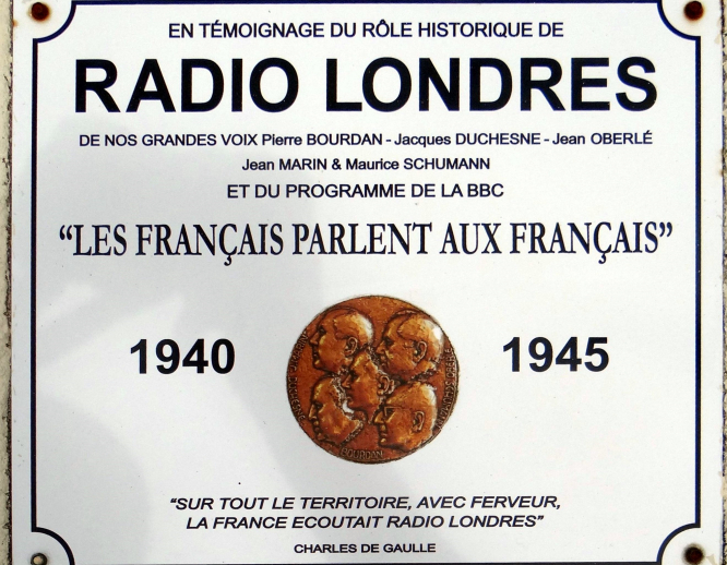 Radio London Plaque in Calvados. Photo from Wikimedia Wayne77.