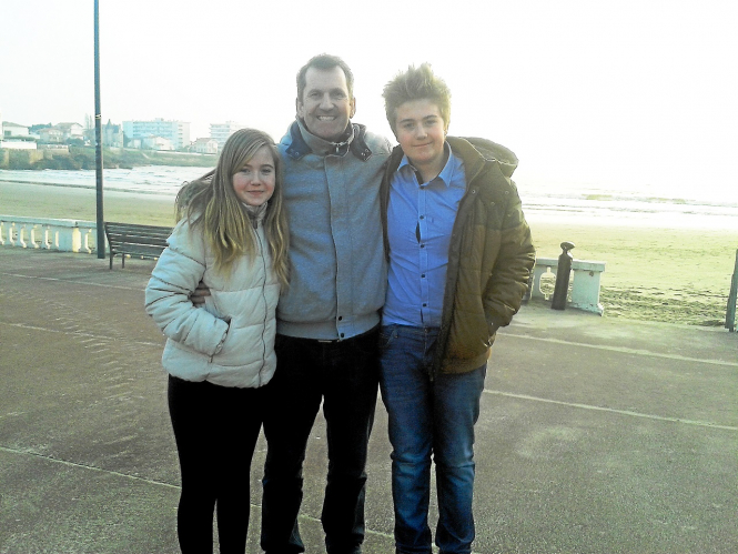 Conor O'Gorman, with two of his children - Chloe and Adam