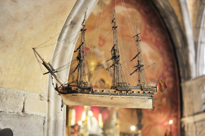 Replica of miracle boat in chapel of Notre Dame de Rocamadour