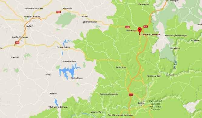 Google map of part of france