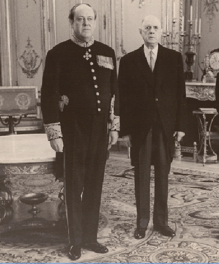 Sir Christopher Soames, British ambassador to France 1968 to 1972, with General de Gaulle. Photo: British Embassy Paris Archives.