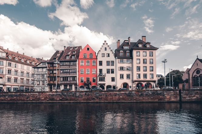 Cityscape of traditional buildings in Strasbourg, France.