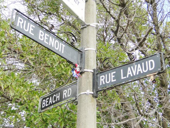 Street sign in Akaroa, New Zealand