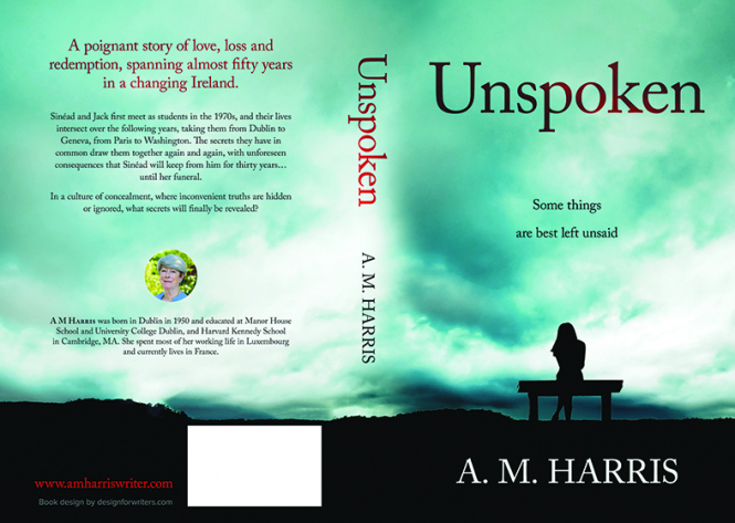 Front and back covers of book Unspoken by A.M. Harris. Anne Harris, €13.70. ISBN: 978 2957366606. Uncredited.