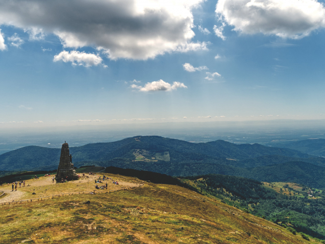 View from the Grand Ballon, highest peak of the Vosges, France.