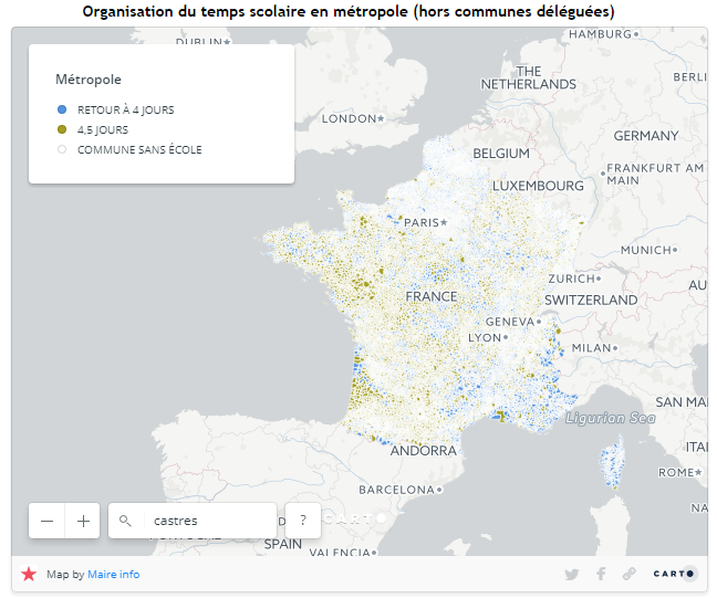 interative map of france showing schools operating a four-day week