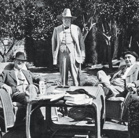 Winston Churchill relaxing with Somerset Maugham and HG Wells at Cap Ferrat in 1937. Photo: Fremantle / Alamy Stock Photo.