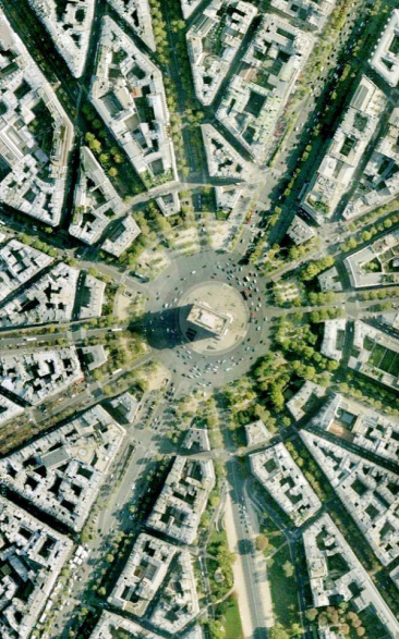 Arc de Triomphe from the air Paris