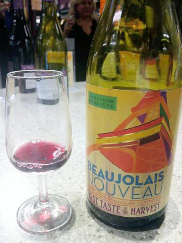 Beaujolais nouveau bottle and glass