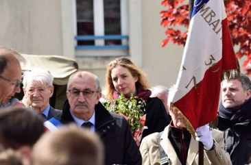 Ceremony St Denis d'Orque Jacky Emery far left, Mayor Fernand Pioger, Great niece  Katya Foreman