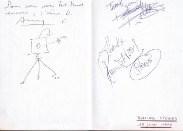 La Poule au Pot guest book -Ron Wood,Stones 1985