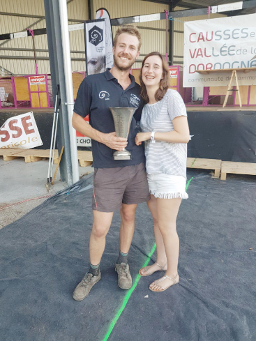 Sheep shearer Loic Leygonie with his girlfriend Camille Bouyssou and trophy