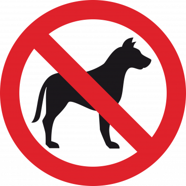 No dogs sign red with black and white