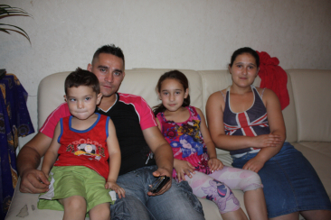 From left, Roma refugees in Lyon - Iacov, Visi, Natalia and Bianca