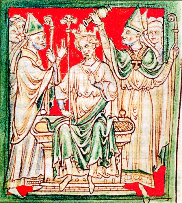A 13th-century  chronicler's image  of Richard LionHeart's coronation