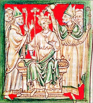 A 13th-century  chronicler's image  of Richard LionHeart's coronation