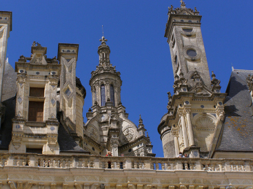 The highly decorated roof at Chateau de Chambord