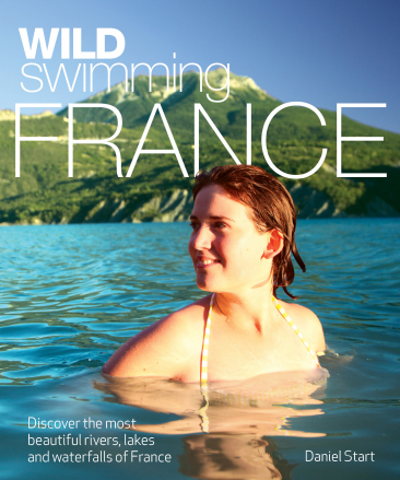 book cover with woman swimming in lake