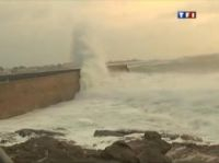 Screengrab from TF1 shows high seas battering the north-west coast