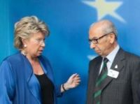 Mr Shindler meets European Commision vice-president Viviane Reding last year  in his votes campaign