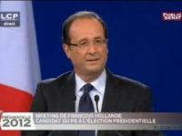 Screengrab from Dailymotion of Hollande speaking at Le Bourget