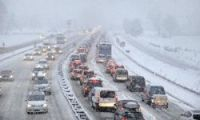 Heavy snow caused travel chaos at the weekend