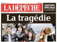 Today's front page of La Depeche newspaper