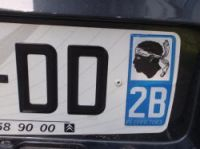 The Corsican logo on a French car registration plate
